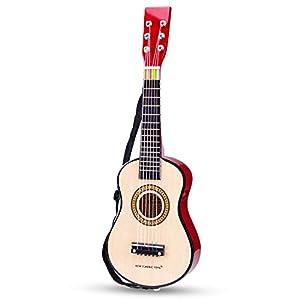 New Classic Toys New Classic Toys-10344 0344-Guitarra de Juguete, Natural, Color Madera (Ref 0344)
