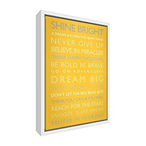 "Feel Good Art ""Dream Big Giclee Printed Framed Canvas with Solid White Wooden Frame Surround, Sunshine Yellow, 64 x 44 x 3 cm, Large"