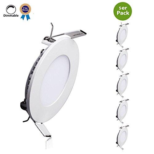 ED Einbaustrahler LED Panel Leuchte 4000K Neutralweiß, 720 Lumen,Rund LED Einbauleuchten, LED Deckenleuchte,LED Panellampe,5er Pack. Zwei-Jahre-Garantie (Dimmbare Led-leuchten)