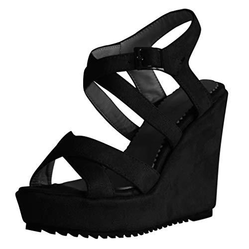 ODRD Sandalen Shoes Damenmode Elegante Open Toe Wedges Platform Buckle Schuhe Römersandalen 3-5cm Schuhe Strandschuhe Freizeitschuhe Turnschuhe Hausschuhe Pumps Slipper