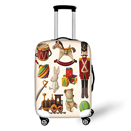 Travel Luggage Cover Suitcase Protector,Kids Decor,Vintage Wooden Toys Decor Rocking Horse Soldier Sword Blocks Doll Drum Train Retro Print Decorative,,for Travel,L (Hat Toy Soldiers)