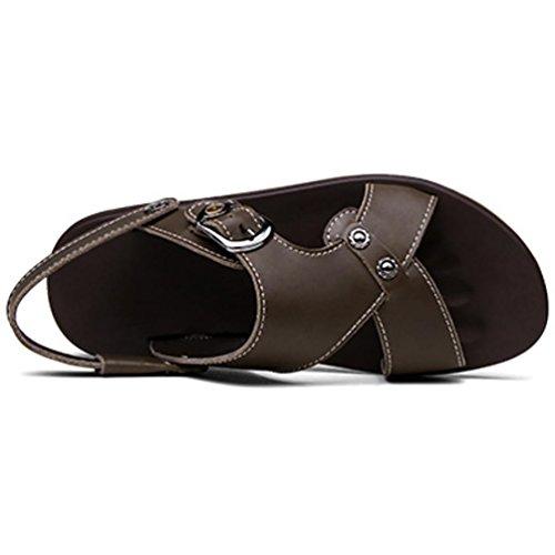 SHANGXIAN Anti-scivolo spiaggia infradito uomo in estate Casual in pelle sandali (due generi di tees) dark khaki