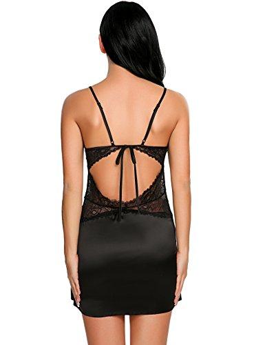 Avidlove Sexy Damen Negligees aus Satin Lange Straps Nachthemd Edles Sommer Nachtwäsche Nachtkleid Lingerie kleid Sleepwear Tops (A)Schwarz