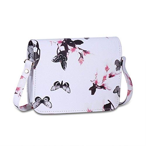 Frauen-Schmetterlings-Druck Blumenschultertasche Aus Leder Satchel Handtasche White