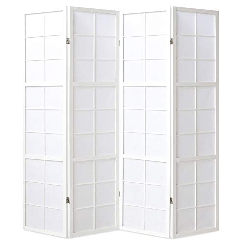 Homestyle4u 438, Paravent Raumteiler 4 teilig, Holz Weiss, Reispapier Weiß, Höhe 175 cm (Paravent-scharniere)