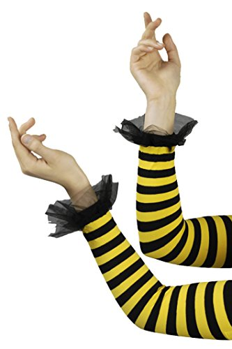 Armstulpen Sulpen in gelb schwarz für Bienen Kostüm (Schwarz In Kostüme)