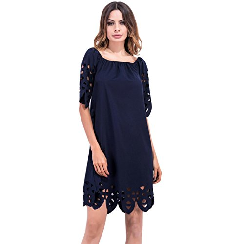 Manadlian-Robes Ete Femme,Robe de Soirée Courte Robe de Soirée Plage Femme Épaule Épaule Mini Robe Plage Marine