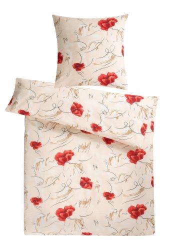 Carpe Sonno Kühle Seersucker Bettwäsche Set Mohnblume 135 x 200 cm - Leichte Baumwoll Bett-Bezüge mit Rot Creme Blumen Muster für den Sommer - Moderne & bügelfreie Bettwaren-Garnitur - Rot Bettbezug