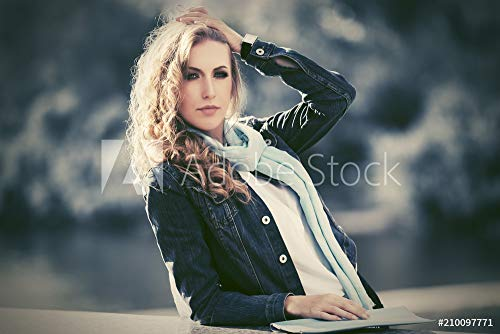 druck-shop24 Wunschmotiv: Young Fashion blond Woman in Dark Blue Denim Jacket Walking Outdoor #210097771 - Bild als Foto-Poster - 3:2-60 x 40 cm / 40 x 60 cm Womens Dark Denim