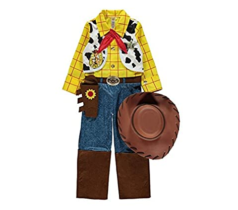 Officially Licensed Disney Pixar Toy Story Woody fancy dress 7-8yrs Boys Cowboy Costume with Hat, Necktie & Sheriff's Star, Made for 'George' Collection by George