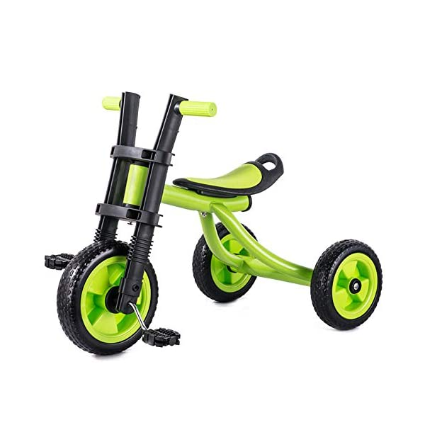 BGHKFF Childrens Tricycles 2 To 5 Years Anti-slip Pedals Kids Tricycle The Seat Can Be Adjusted Back Child Trike Maximum Weight 25 Kg,Green BGHKFF ★Material: Steel frame + TPR plastic, suitable for children aged 2-5, maximum weight 25 kg ★ Size: 57*25*37cm/22.4*9.8*14.5inchs ★Features: The frame is made of steel, high-strength argon arc welding technology, strong and firm; the front fork of the handlebar is integrated, anti-bias, anti-dislocation, anti-loose; rear-wheel quick-disconnect design, easy to disassemble; 7