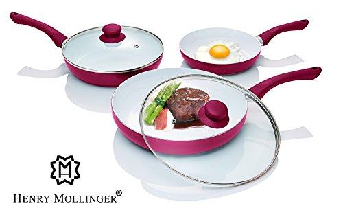 Original Henry Mollinger Keramik Pfannen Set 5-tlg. Induktionsgeeignet rot