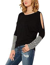 SANFASHION Tops Femmes,Manche Longue Rayure,Casual épaule Stripe  Splice,Blouse Tee Shirt 2082c53c804e