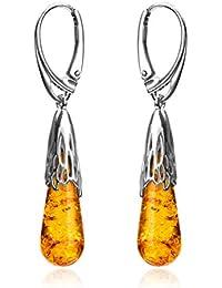 Amber Sterling Silver Drop Leverback Earrings