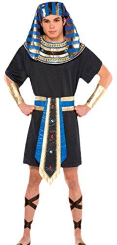 Faschingsfete Herren Karnevalskomplettkostüm ägyptisches Pharaokostüm, M/L, Schwarz-Blau