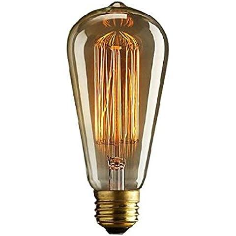 Autek Edison bombilla de filamento con E27 gota ST64 jaula de ardilla antigüedad de la vendimia (VintageBulb-ST64-240V)