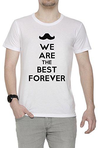 We Are The Best Forever Uomo T-shirt Bianco Cotone Girocollo Maniche Corte White Men's T-shirt
