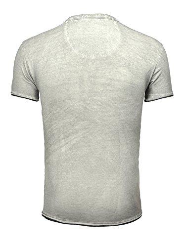 Key Largo Herren T-Shirt HURRICANE Sommershirt bedruckt mit Brusttasche Vintage Look Slim Fit Schnitt Rundhals Rundhalsausschnitt Männer Grau