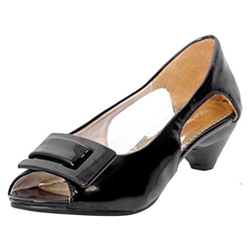 COOLCEPT Damen Mode Slip On Sandalen Peep Toe Niedrig Kitten Heel Schuhe Schwarz