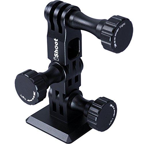 iShoot alle Metall Clamp Adapter Halterung 3-Wege-Pivot Arm für Gopro Hero 4/3+/3-- unten Schnellwechselplatte kompatibel mit RRS/ARCA-Swiss Fit Ball Head
