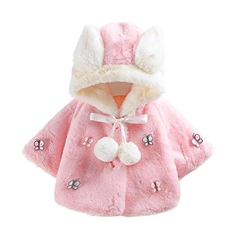 Manadlian Enfant Bébé Fille 3D Oreilles de Lapin Capuchon Doux Chaud en Coton Veste d