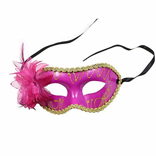 ParttYMask Maskerade,Karnevalsball Maske Prinzessin gemaltes halbes Gesicht für Männer und Frauen gemalte Seitliche Blumenmaske Rosenrot Masquerade