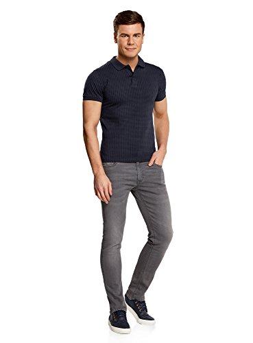 oodji Ultra Herren Poloshirt mit Kontrastdetails Blau (7979G)