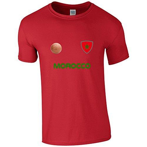 EBUK Maroc Coupe du Monde 2018 Football Rétro Décontracté T-Shirt Pour Hommes Non-Officiel - Rouge, Small