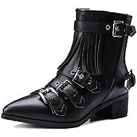 YYH Punta Punk moda britannica di stile stivali alla caviglia