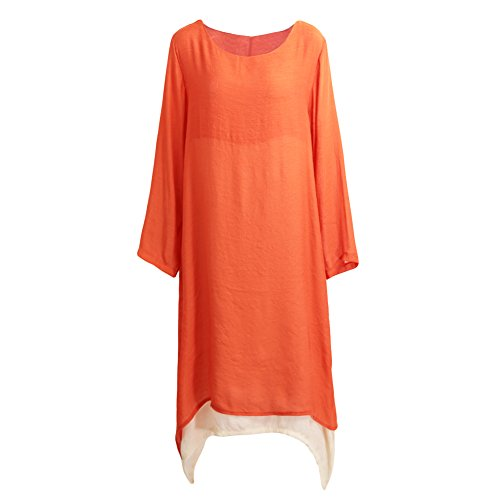 Romacci Women Cotton Linen Vintage Dress Contrast Double Layer Casual Loose Boho Long Plus Size Retro Maxi Dress