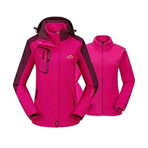 41Dtxrf7GjL. SS500  - Gopune Womens 3 In 1 Jackets Fleece Ski Jacket Softshell Winter Waterproof Full Zip Windproof Coat Zip Pockets