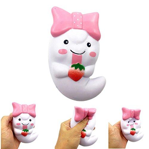 DOLDOA Stress Relief Spielzeug,Cute Ghost Squeeze Langsam steigende Spaß Spielzeug Halloween Geschenk Telefon Strap,5