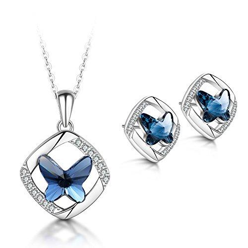 T400 Jewelers 925 Sterling Silber Schmetterling Halskette und Ohrringe Schmuck Sets Geschenk für Frauen Kette 43+2cm
