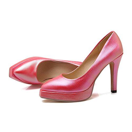 AllhqFashion Damen Weiches Material Ziehen Auf Spitz Zehe Hoher Absatz Rein Pumps Schuhe Pink