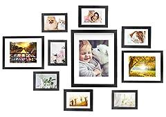 Idea Regalo - Vsadey Cornici Foto Set di 10 Cornici Fotogramma Collage Multiple da Parete in Legno Massiccio Combinato, 1 di 28x36 cm, 2 di 20x25 cm, 3 di 13x18 cm, 4 di 10x15 cm, Nero