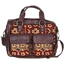 A Big Indian Story's Kalamkari Kilim Vegan Leather Laptop Traveller Bag (Brown)