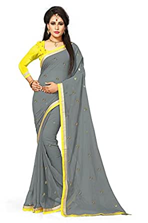 Arawins Women's Georgette Saree With Blouse Piece (Sari_SqnYellow_Grey)