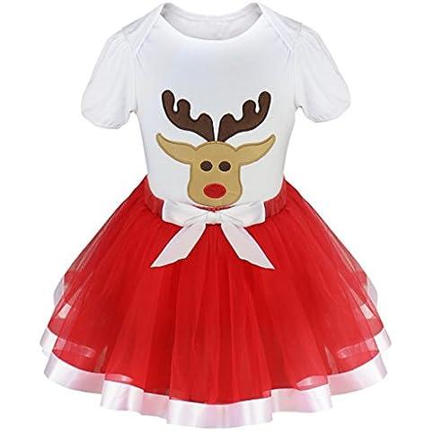 iEFiEL Conjunto de Navidad Fiesta para Bebé Niña Camiseta + Falta Tutú Vestido de Algodón