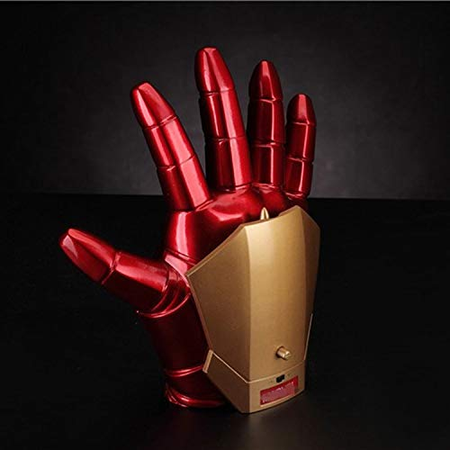 Marvel Helden Kostüm Frei - 1/1 Iron Man Handschuhe Marvel Modell, Glowing Sounds Handschuhe Wearable Multifunktions Cooles Modell Cosplay Requisiten, Gifts-21 * 9cm A