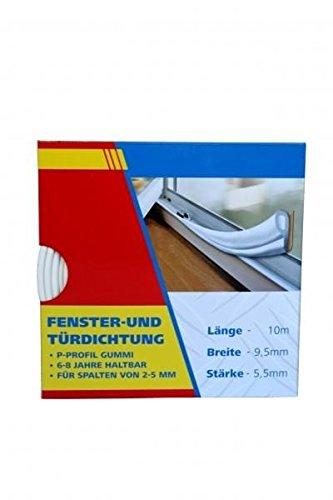 10m Fensterdichtung Türdichtung Dichtungsband Gummi SELBSTKLEBEND P-PROFIL Weiß