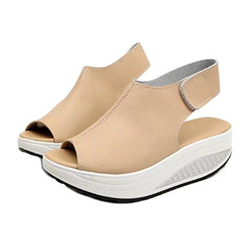 Transer® Damen Peep-Toe Sandalen/Mokassins Schwarz Beige Kunstleder+Kunststoff Slingback Plattform Sandalen Beige