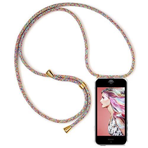 Zhinkarts Handykette kompatibel mit Apple iPhone 5 / 5S / SE - Smartphone Necklace Hülle mit Band - Schnur mit Case zum umhängen in Rainbow Iphone Tasche
