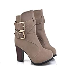Hannea High Heel Coarse And Waterproof Platform Frosted Boot