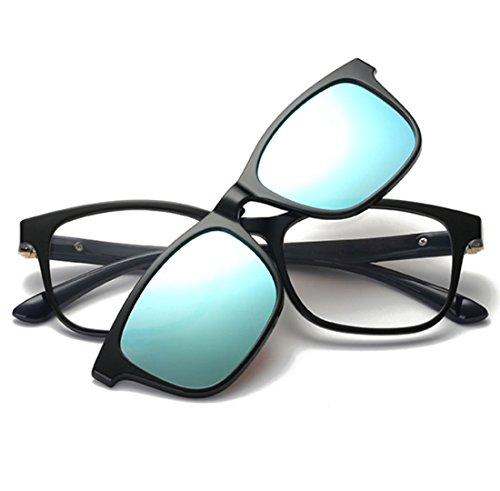 QQBL TR90 Brillengestell Myopie Set Spiegel Absorbierenden Magnetischen Typ Helle Farbe TAC Polarisation UV400 Sonnenbrille Männlich und Weiblich,Blue