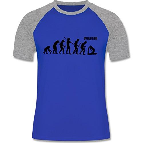 Shirtracer Evolution - Yoga Evolution - Herren Baseball Shirt  Royalblau/Grau meliert