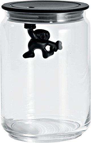 Alessi amdr05 gianni a little man holding on tight barattolo ermetico in vetro con coperchio in resina termoplastica, nero, 90 cl