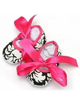 Bebé niñas Soft Sole Impreso damasco lazo algodón zapatos de cuna 0–18M