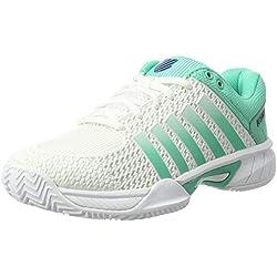 K-Swiss Performance Express Light Hb, Zapatillas de Tenis Mujer, Blanco (White/Electric Green/Blue Ribbon), 41 EU
