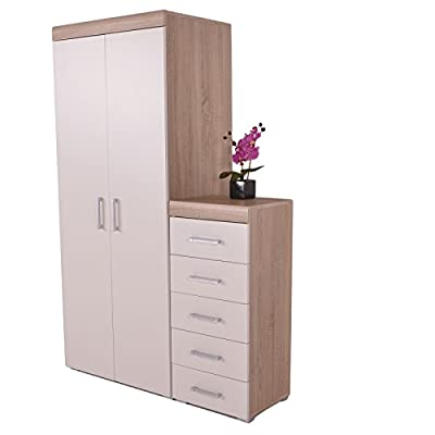5 Drawer Tall Boy Chest of Drawers & 2 Door Wardrobe White & Oak Effect 2 Piece Bedroom Furniture Set