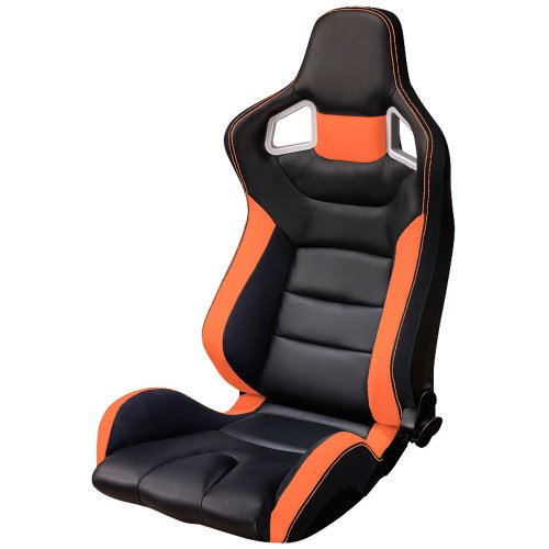 Sportsitze 'RS6' - Schwarz/Orange Kunstleder - Doppelseitig Verstellbare Rückenlehne - Inkl. Schlitten